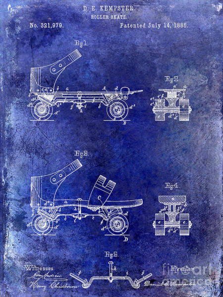 1885 Wall Art - Drawing - 1885 Roller Skate Patent Drawing Blue by Jon Neidert