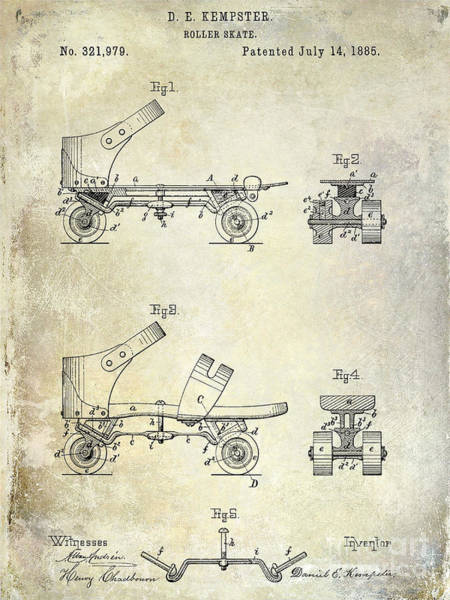 1885 Wall Art - Drawing - 1885 Roller Skate Patent Drawing by Jon Neidert