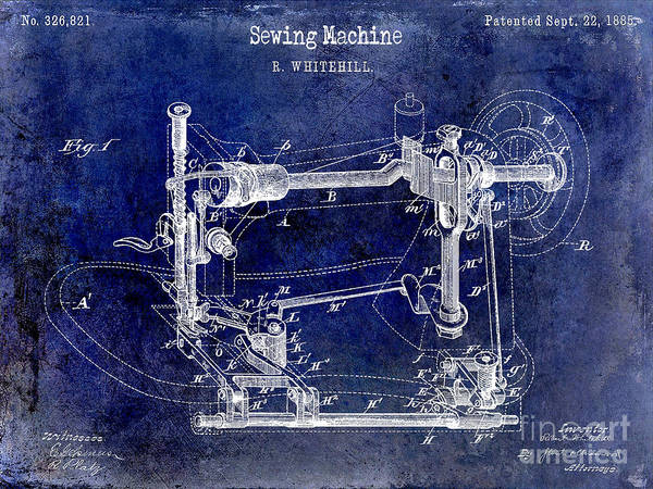 1885 Wall Art - Photograph - 1885 Sewing Machine Patent Drawing Blue by Jon Neidert