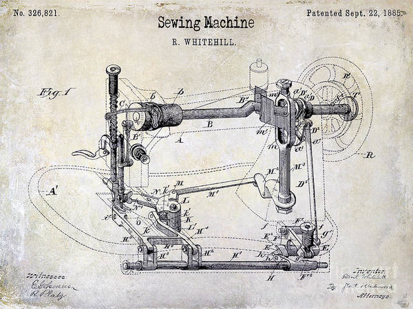 1885 Wall Art - Photograph - 1885 Sewing Machine Patent Drawing by Jon Neidert