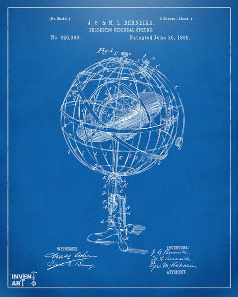 Digital Art - 1885 Terrestro Sidereal Sphere Patent Artwork - Blueprint by Nikki Marie Smith