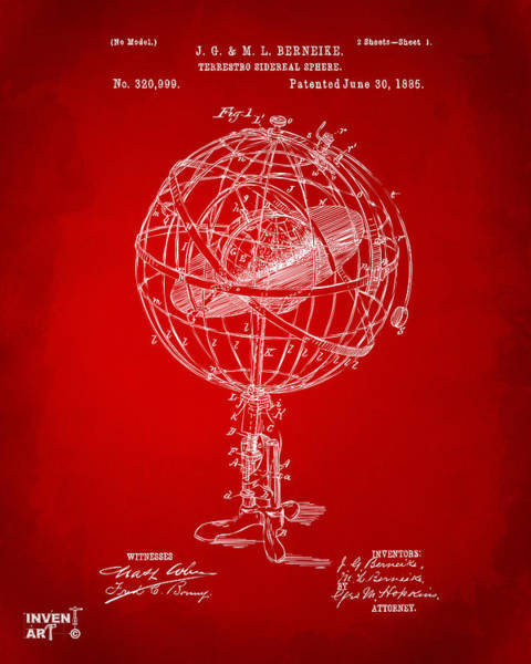 Digital Art - 1885 Terrestro Sidereal Sphere Patent Artwork - Red by Nikki Marie Smith