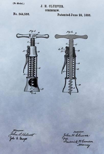 Wall Art - Digital Art - 1886 Corkscrew Patent by Dan Sproul