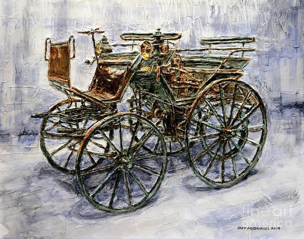 Wall Art - Painting - 1886 Daimler Motorized Carriage by Joey Agbayani