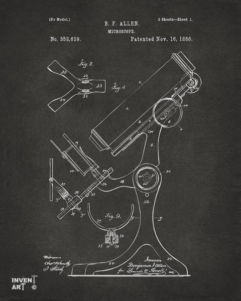 Microscope Wall Art - Digital Art - 1886 Microscope Patent Artwork - Gray by Nikki Marie Smith