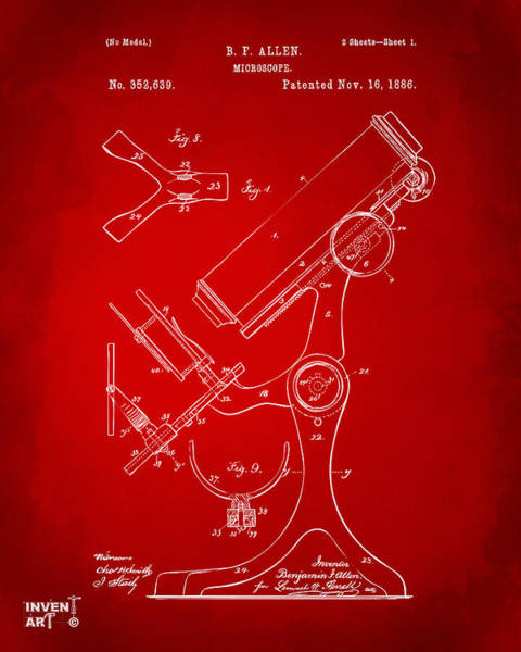 Microscope Wall Art - Digital Art - 1886 Microscope Patent Artwork - Red by Nikki Marie Smith