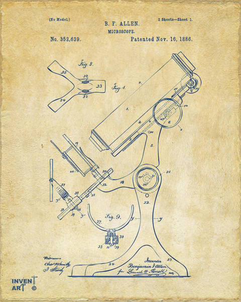 Microscope Wall Art - Digital Art - 1886 Microscope Patent Artwork - Vintage by Nikki Marie Smith