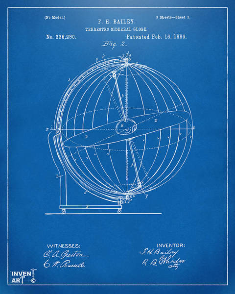 Digital Art - 1886 Terrestro Sidereal Globe Patent 2 Artwork - Blueprint by Nikki Marie Smith