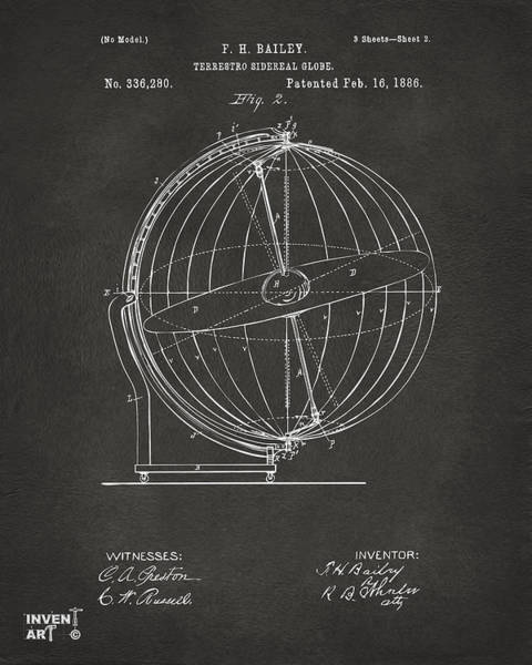 Digital Art - 1886 Terrestro Sidereal Globe Patent 2 Artwork - Gray by Nikki Marie Smith