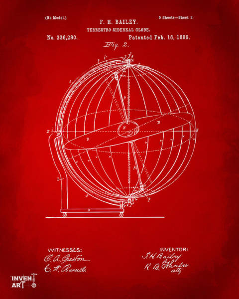 Digital Art - 1886 Terrestro Sidereal Globe Patent 2 Artwork - Red by Nikki Marie Smith