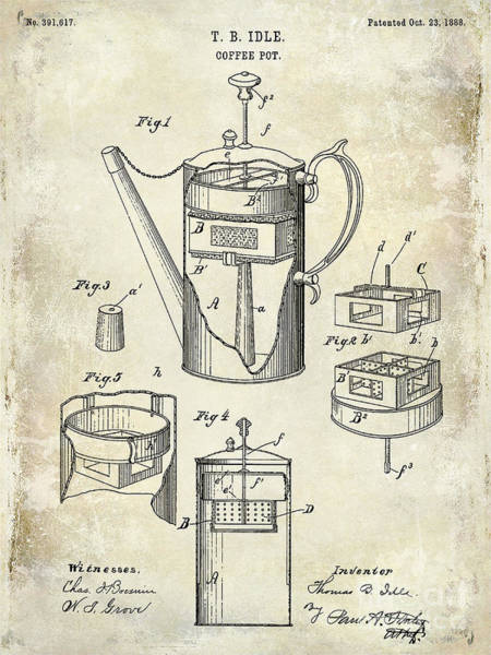 Wall Art - Photograph - 1888 Coffee Pot Patent Drawing by Jon Neidert
