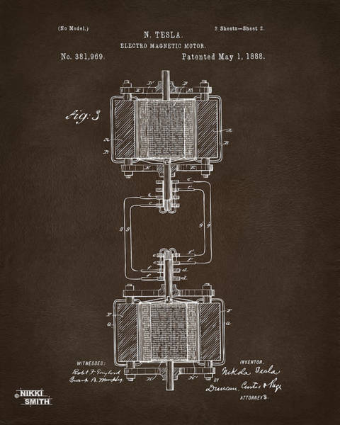 Digital Art - 1888 Tesla Electro Magnetic Motor Patent Espresso by Nikki Marie Smith