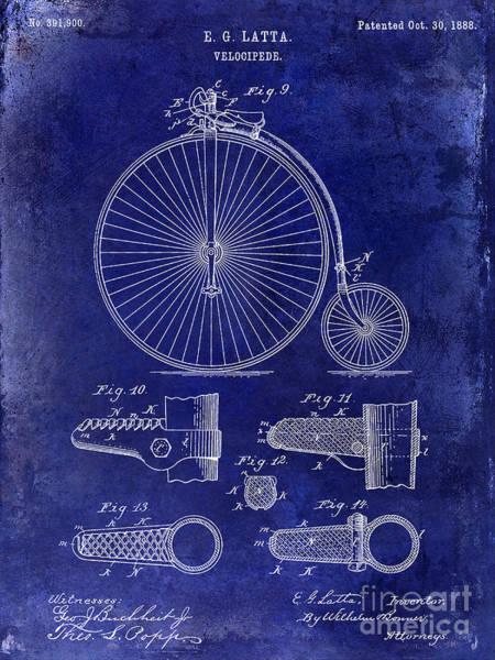 1888 Photograph - 1888 Velocipede Patent Drawing Blue by Jon Neidert
