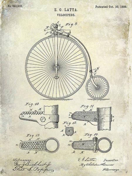 1888 Photograph - 1888 Velocipede Patent Drawing  by Jon Neidert