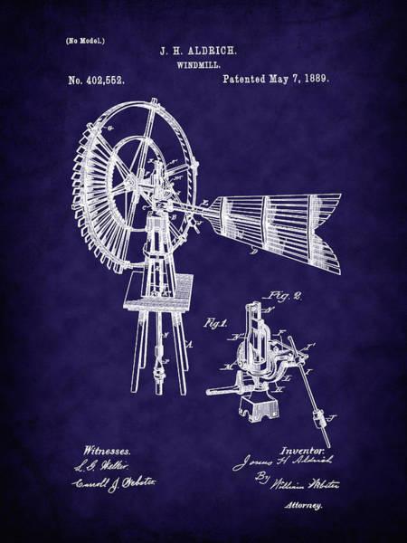 Digital Art - 1889 Aldrich Windmill Patent Art-b by Barry Jones