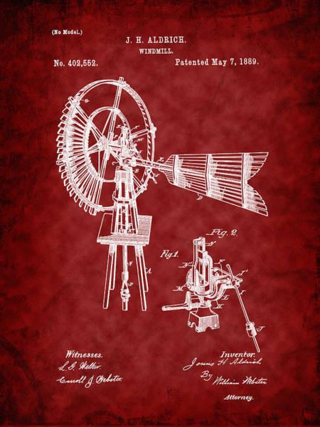Digital Art - 1889 Aldrich Windmill Patent Art-r by Barry Jones