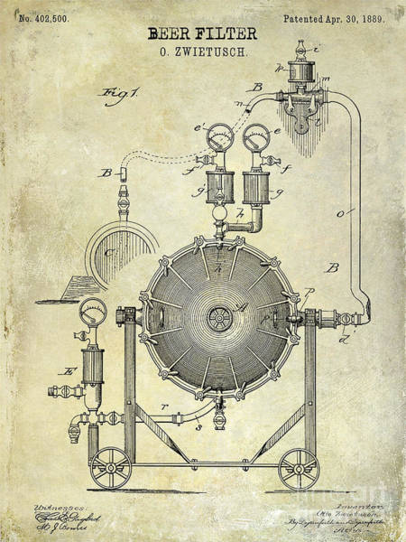 1889 Photograph - 1889 Beer Filter Patent Drawing by Jon Neidert