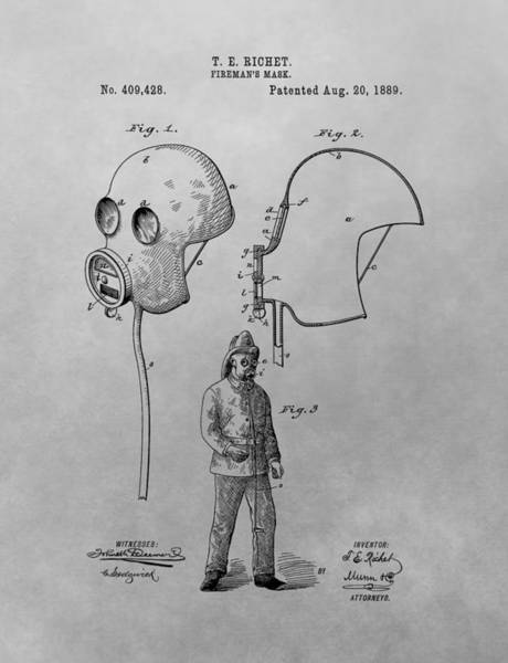 Drawing - 1889 Fireman's Mask Patent Drawing by Dan Sproul