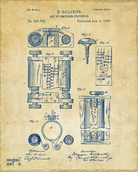 Patent Drawing Wall Art - Digital Art - 1889 First Computer Patent Vintage by Nikki Marie Smith