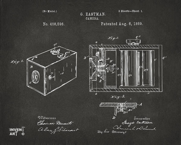 Digital Art - 1889 George Eastman Camera Patent Gray by Nikki Marie Smith