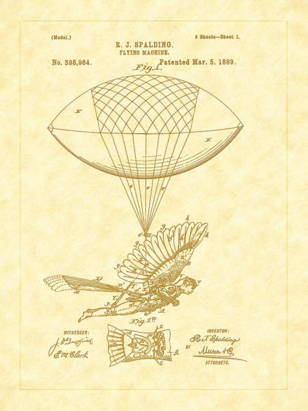 Photograph - 1889 Spalding Flying Machine Patent Art by Barry Jones