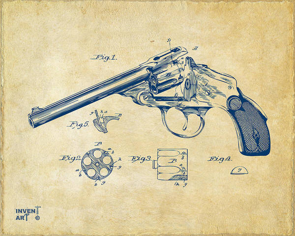 Cross Section Digital Art - 1889 Wesson Revolver Patent Minimal - Vintage by Nikki Marie Smith