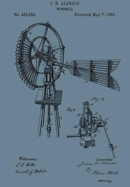 Wind Vane Digital Art - 1889 Windmill On Blue by Dan Sproul