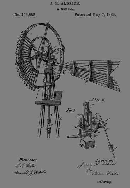 Blades Mixed Media - 1889 Windmill Patent by Dan Sproul