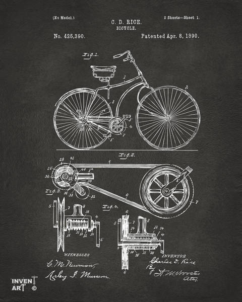 Wall Art - Digital Art - 1890 Bicycle Patent Artwork - Gray by Nikki Marie Smith