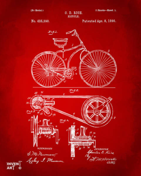 Wall Art - Digital Art - 1890 Bicycle Patent Artwork - Red by Nikki Marie Smith