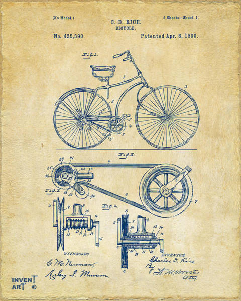 Den Digital Art - 1890 Bicycle Patent Artwork - Vintage by Nikki Marie Smith