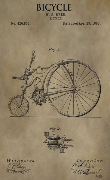 Drawing - 1890 Bicycle Patent by Dan Sproul