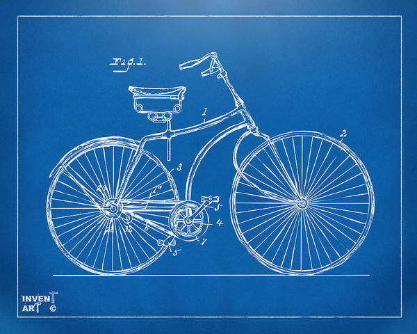 Wall Art - Digital Art - 1890 Bicycle Patent Minimal - Blueprint by Nikki Marie Smith
