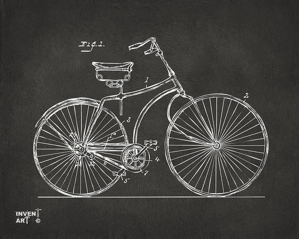 Wall Art - Digital Art - 1890 Bicycle Patent Minimal - Gray by Nikki Marie Smith