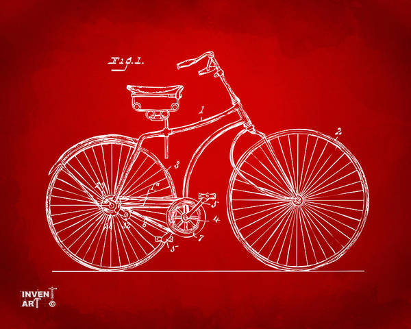 Wall Art - Digital Art - 1890 Bicycle Patent Minimal - Red by Nikki Marie Smith