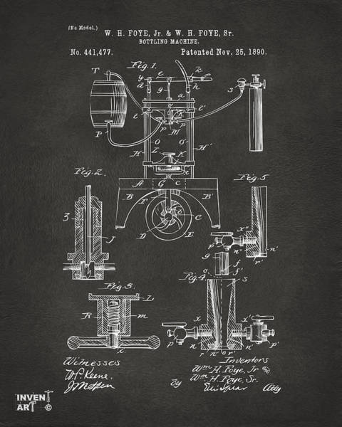 Machines Digital Art - 1890 Bottling Machine Patent Artwork Gray by Nikki Marie Smith