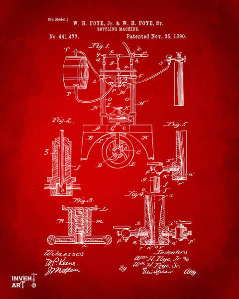 Wall Art - Digital Art - 1890 Bottling Machine Patent Artwork Red by Nikki Marie Smith