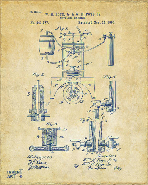 Machines Digital Art - 1890 Bottling Machine Patent Artwork Vintage by Nikki Marie Smith