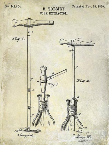 Corkscrew Wall Art - Photograph - 1890 Cork Extractor Patent Drawing by Jon Neidert