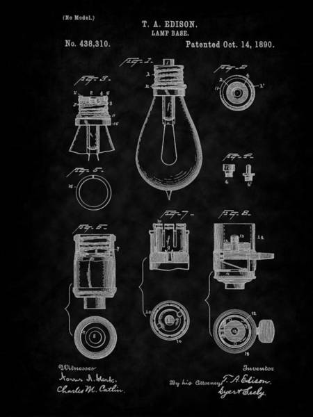 Digital Art - 1890 Edison Lamp Base Patent Art-bk by Barry Jones