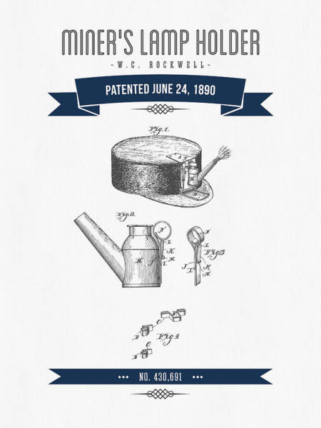 Gold Rush Wall Art - Digital Art - 1890 Miners Lamp Holder Patent Drawing - Retro Navy Blue by Aged Pixel
