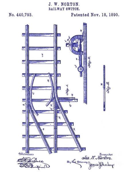 Vintage Patent Drawing - 1890 Railway Switch Patent Blueprint by Jon Neidert