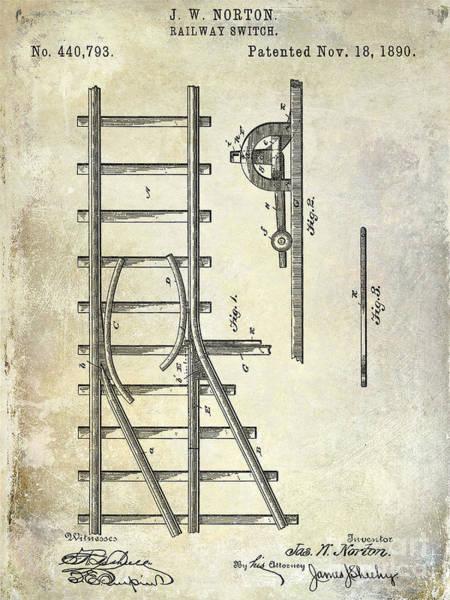 Vintage Patent Drawing - 1890 Railway Switch Patent Drawing by Jon Neidert