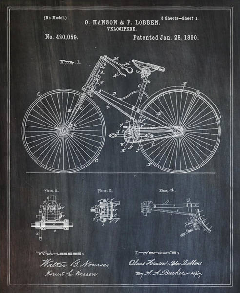 Photograph - 1890 Velocipede Bicycle Patent by Bill Cannon