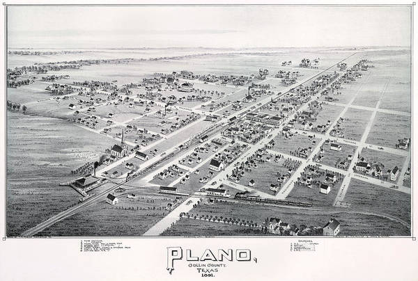 Tc Photograph - 1890 Vintage Map Of Plano Texas by Stephen Stookey