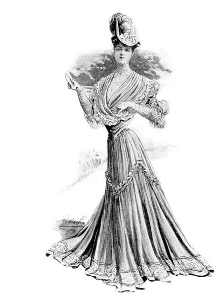 Style Painting - 1890s 1900s Womens Fashion Wasp Waist by Vintage Images