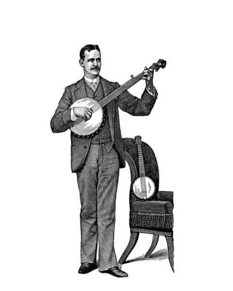 Strum Wall Art - Painting - 1890s Man Standing Playing Five String by Vintage Images