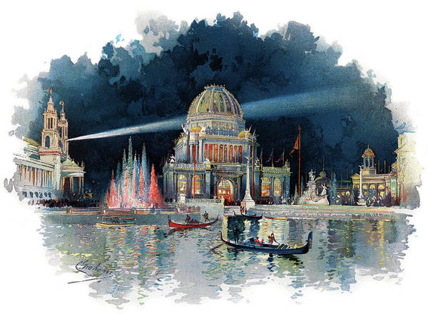 Wall Art - Painting - 1890s Night In Grand Court Of World by Vintage Images