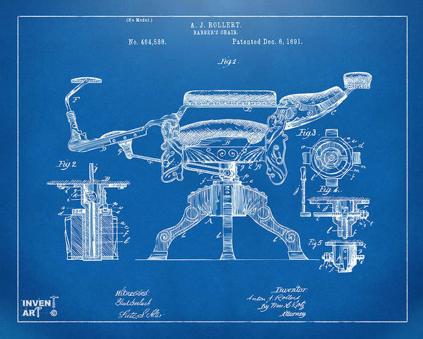 Digital Art - 1891 Barber's Chair Patent Artwork Blueprint by Nikki Marie Smith
