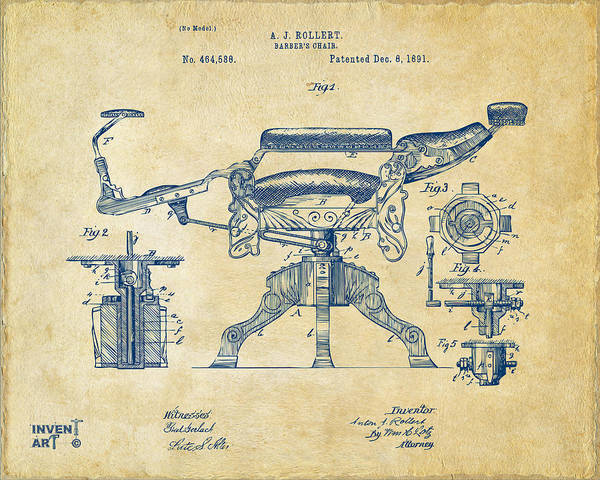 Digital Art - 1891 Barber's Chair Patent Artwork Vintage by Nikki Marie Smith